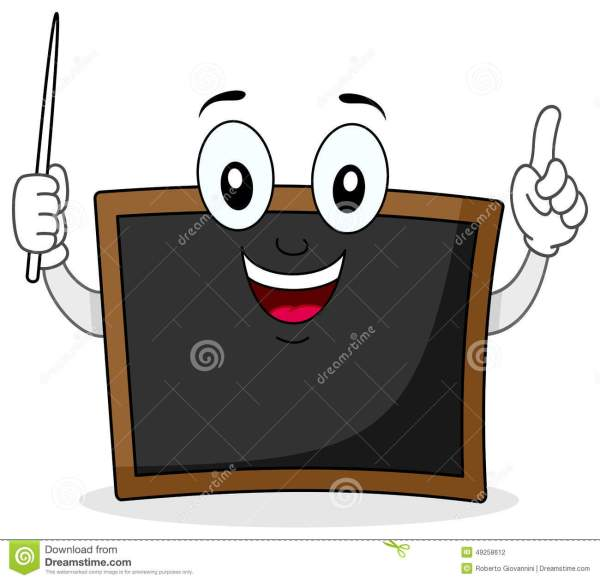 Black Chalkboard Character With Pointer Stock Vector