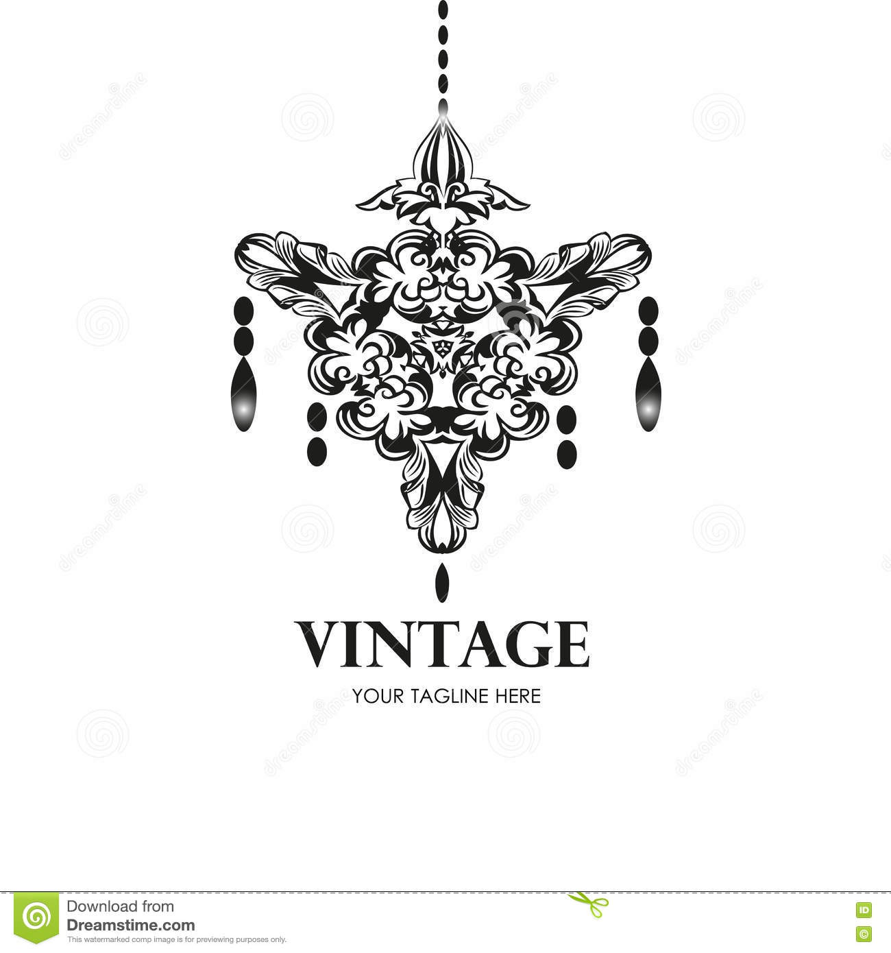 Black Chandelier Silhouette Isolated On White Vector