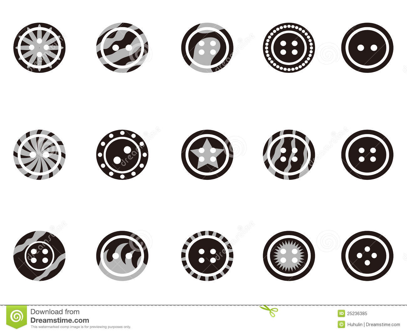 Black Clothing Button Icons Stock Vector