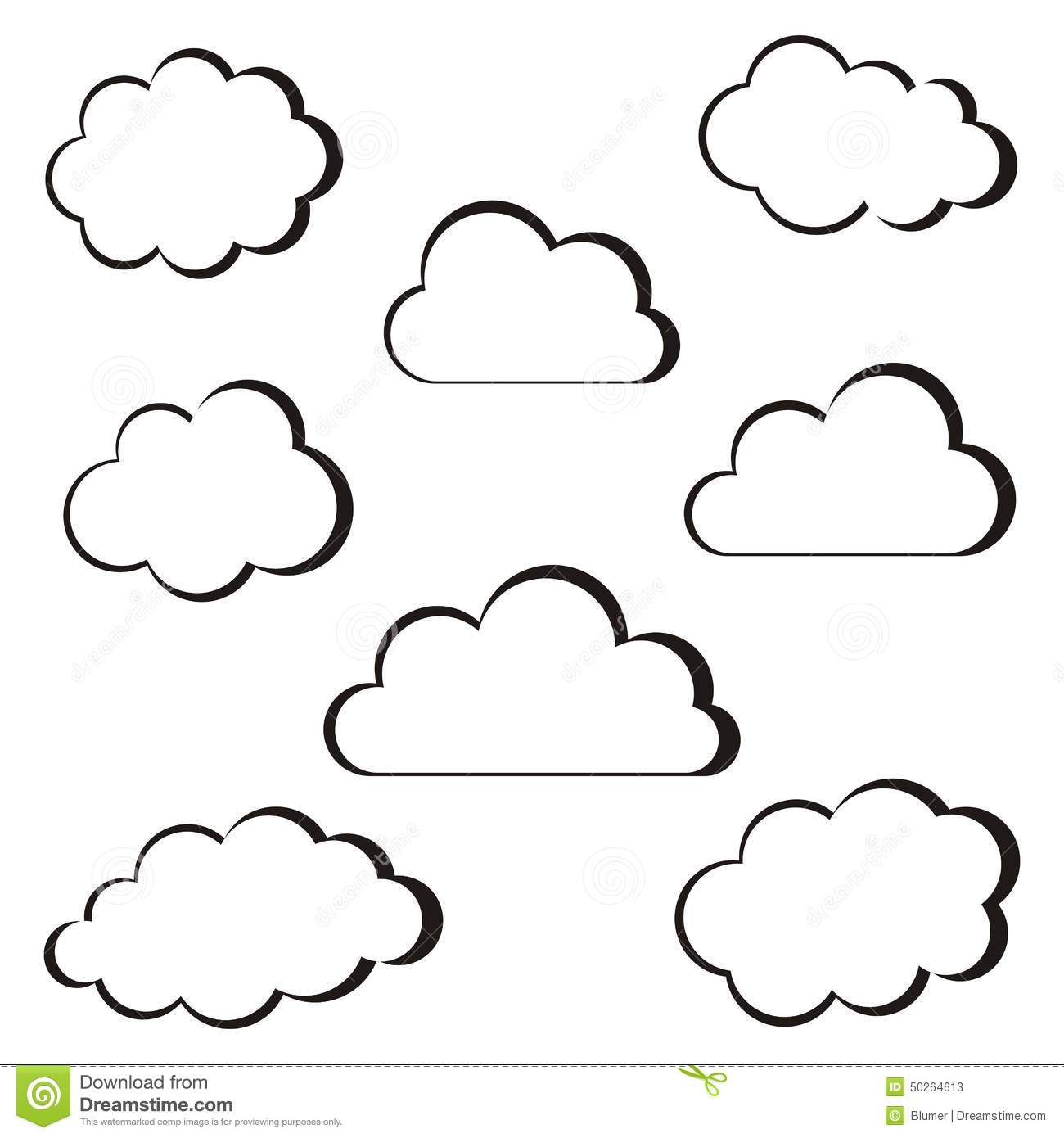 Black Clouds Outline Stock Vector Illustration Of