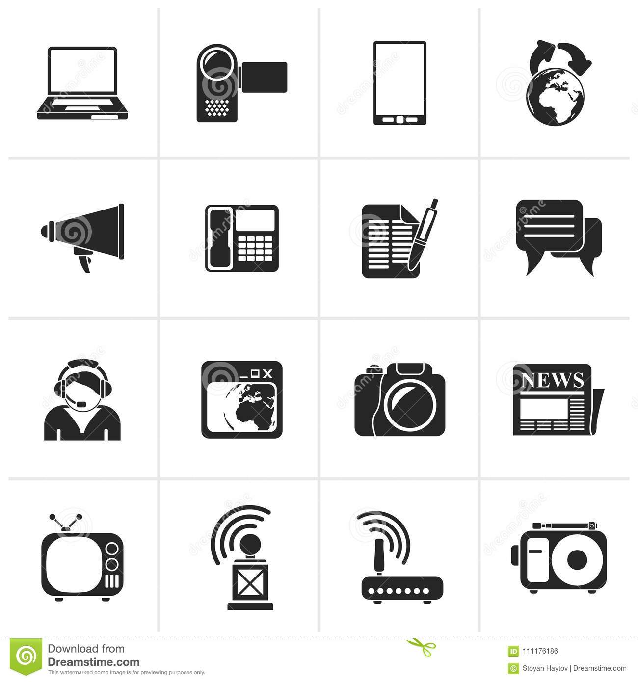 Black Communication And Technology Icons Stock Vector