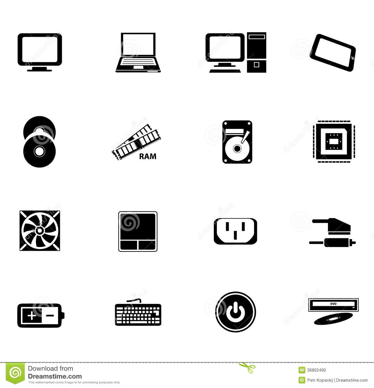 Black Computer Icons Stock Vector Illustration Of Part