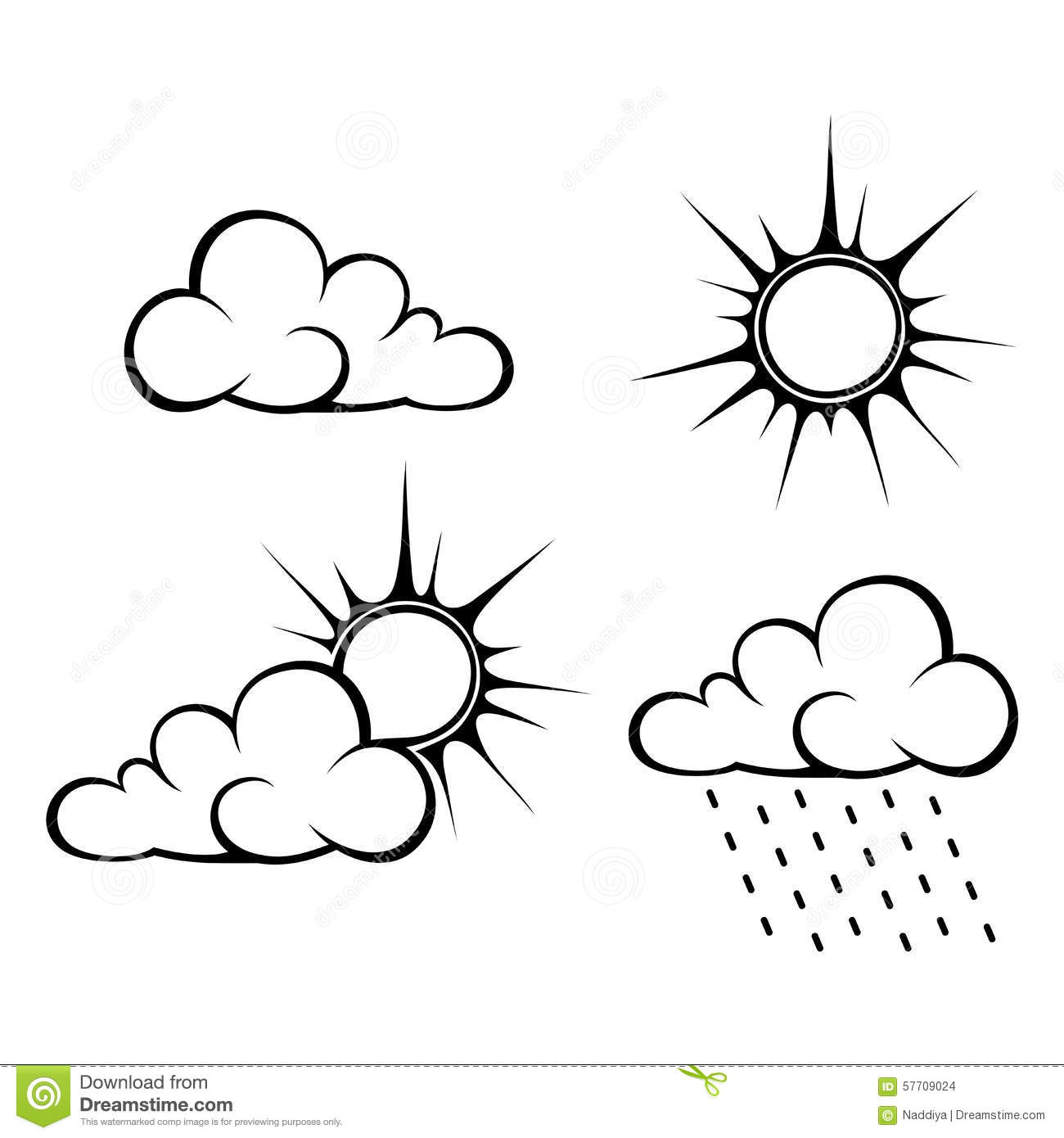 Black Contours Of Clouds And Sun Vector Illustration