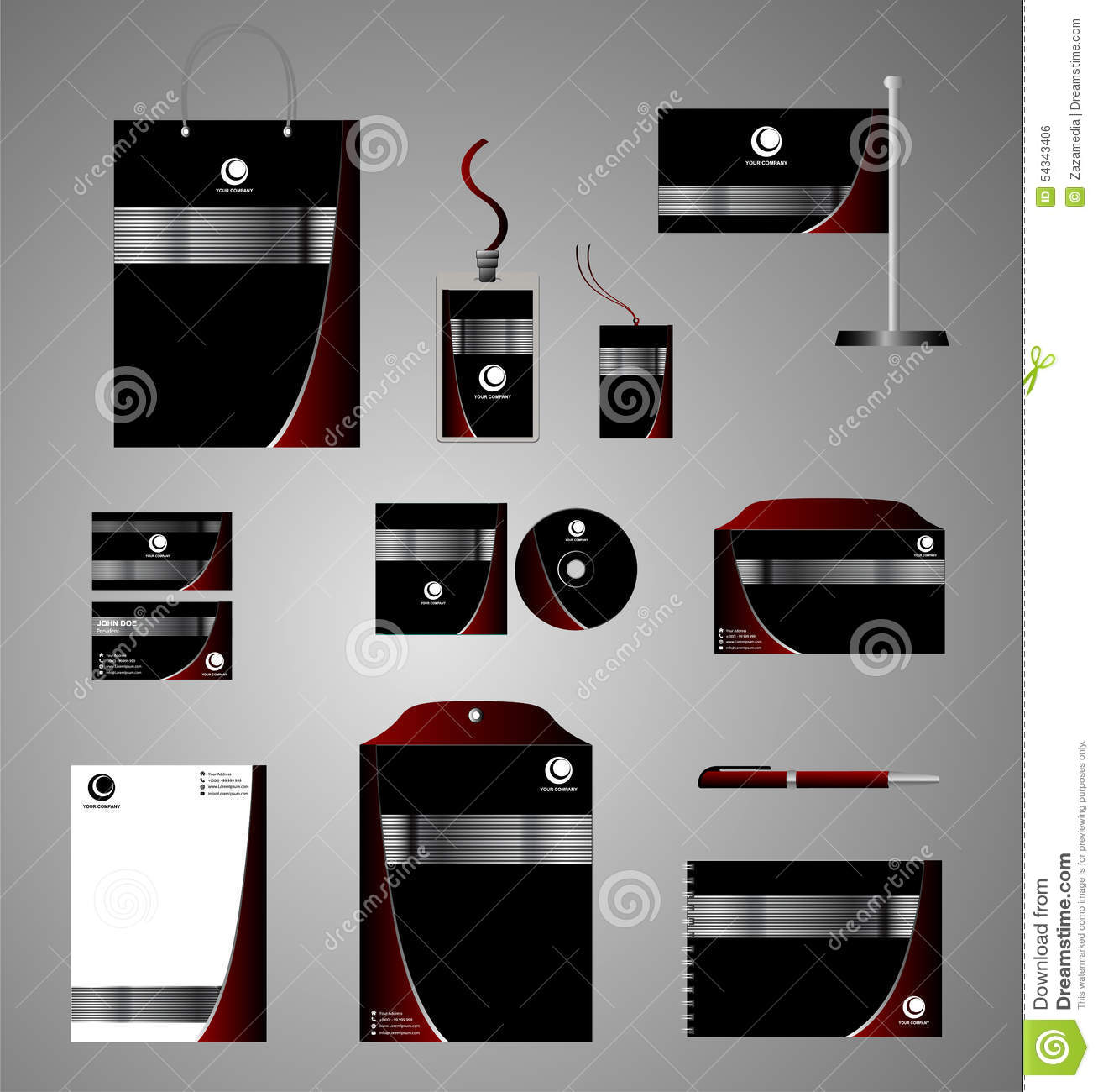 Black Corporate Identity Template With Red Elements