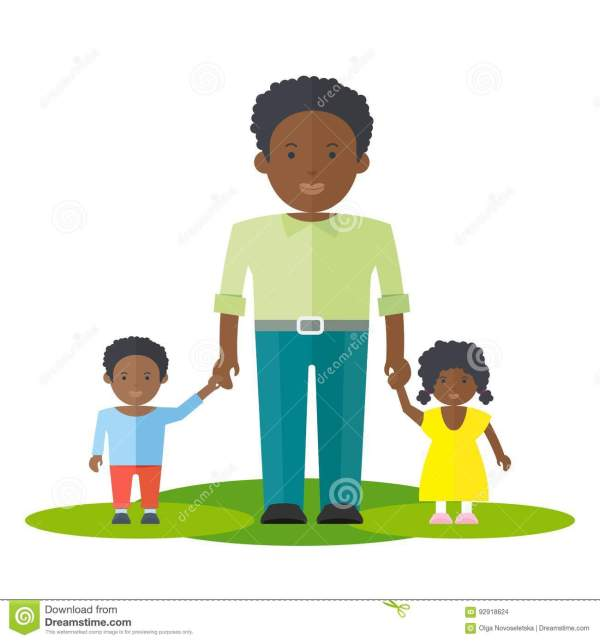 Black Dad And Baby Girl Boy Stock Vector - Illustration Of