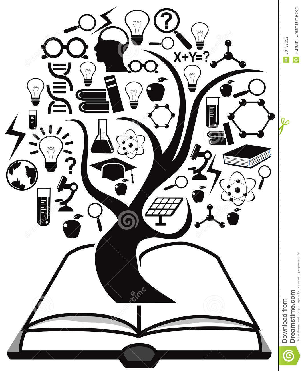 Black Education Icons Tree Up From Book Stock Vector