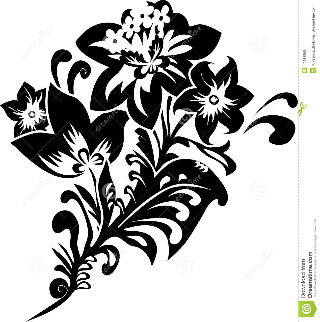 Black Fantasy Flower Stencil Stock Photography  Image