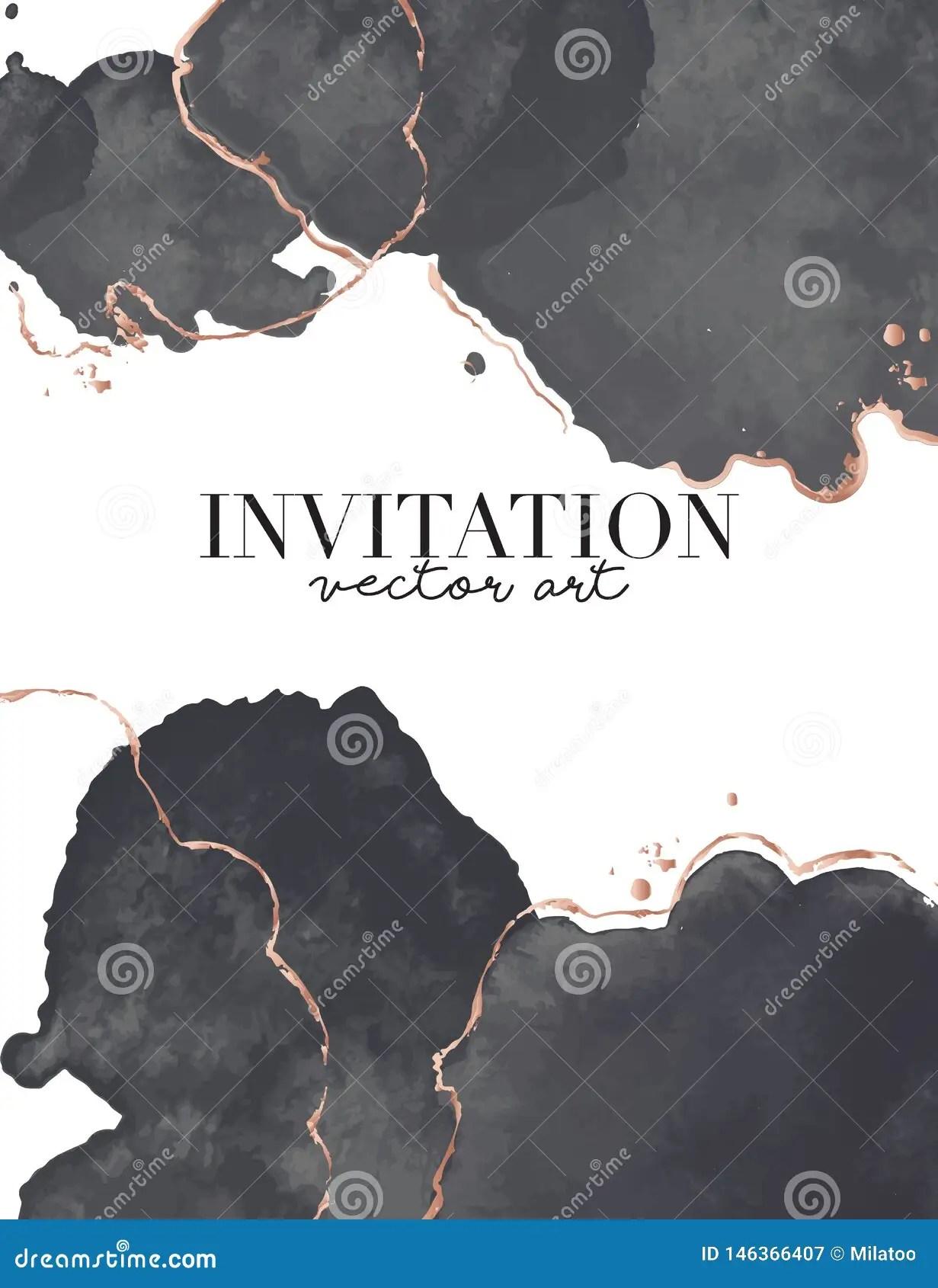 https www dreamstime com black gold luxury design watercolor splash vector vertical wedding invitation card golden waves shapes trendy ceremony image146366407
