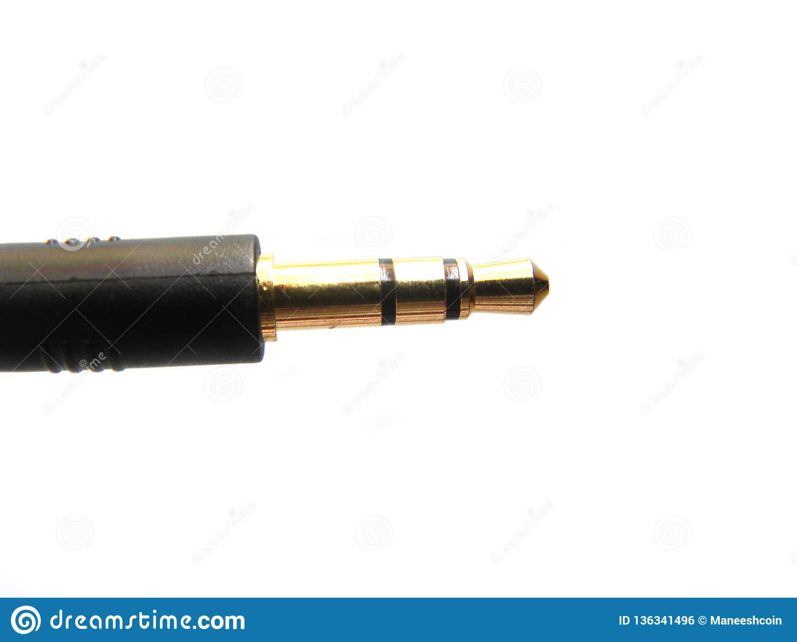 hight resolution of black and golden color headphone jack on white background
