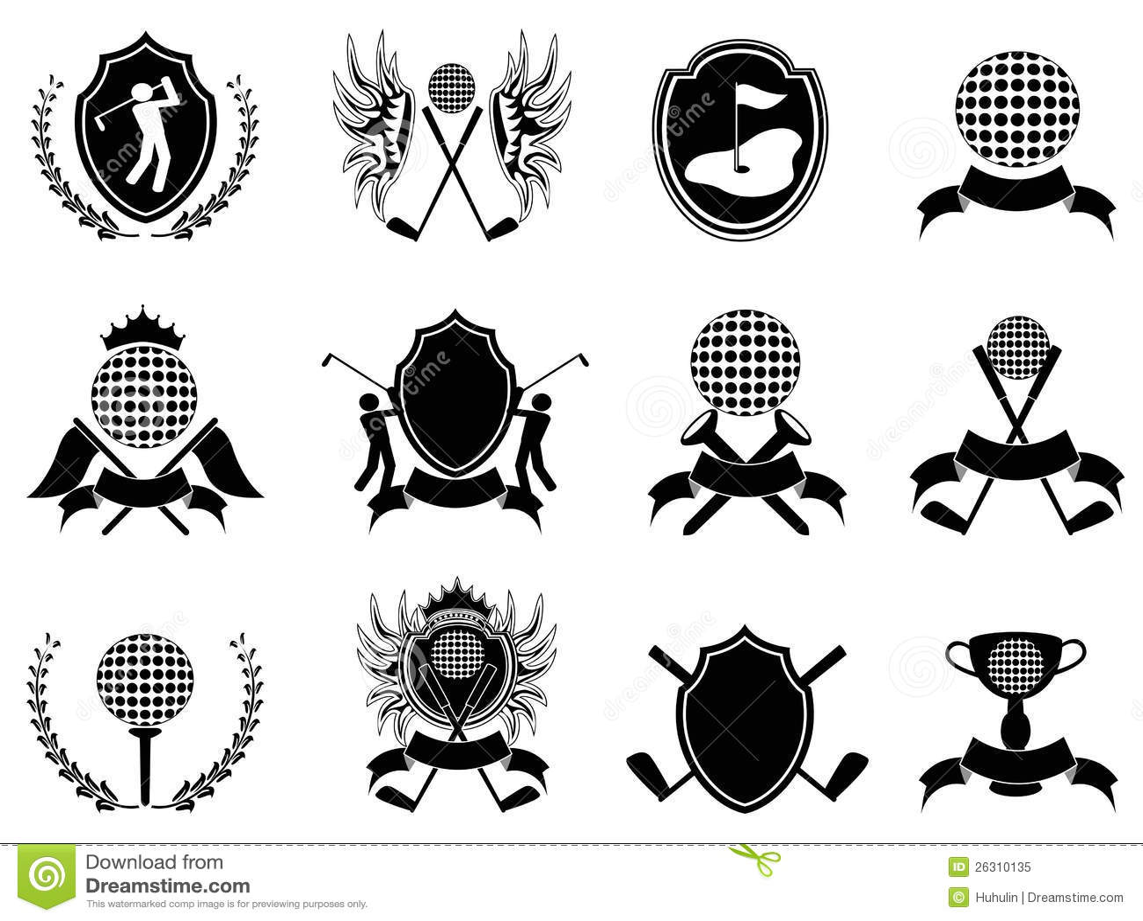 Black Golf Insignia Royalty Free Stock Photo