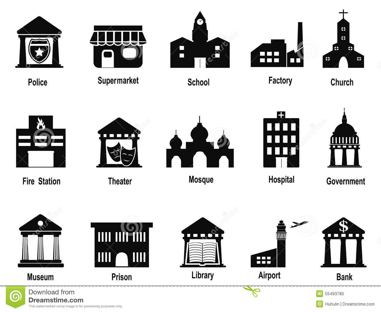 Black Government Building Icons Set Stock Vector