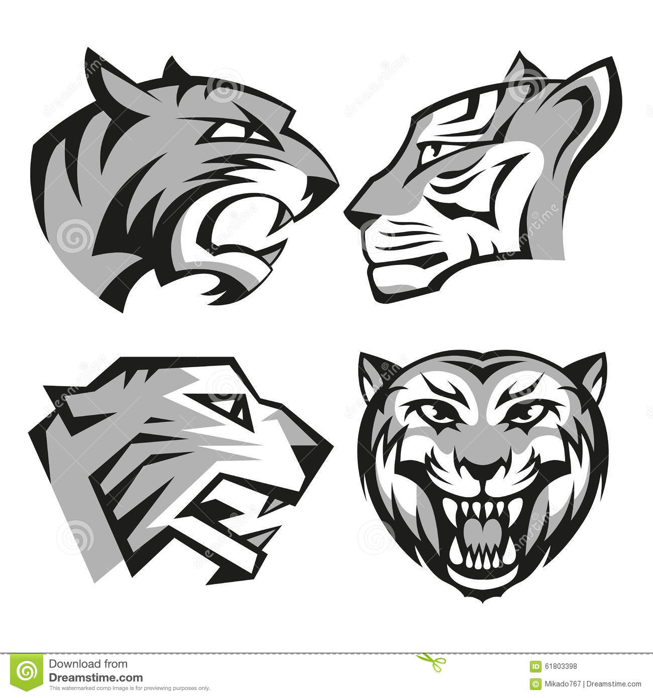 Set Tiger Head Cartoon Vector