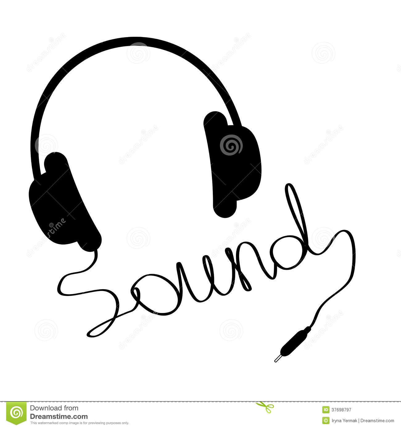 Black Headphones With Cord In Shape Of Word Sound Stock