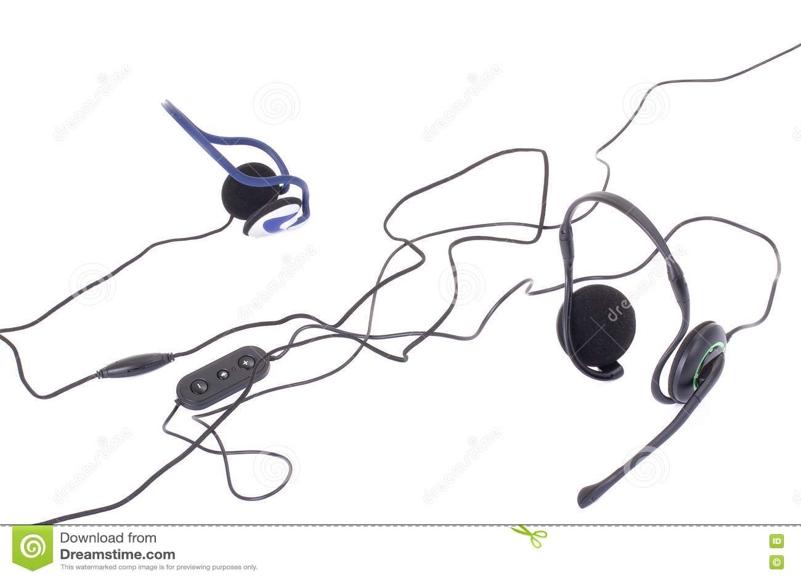 Black Headphones Isolated On White Background Stock Photo