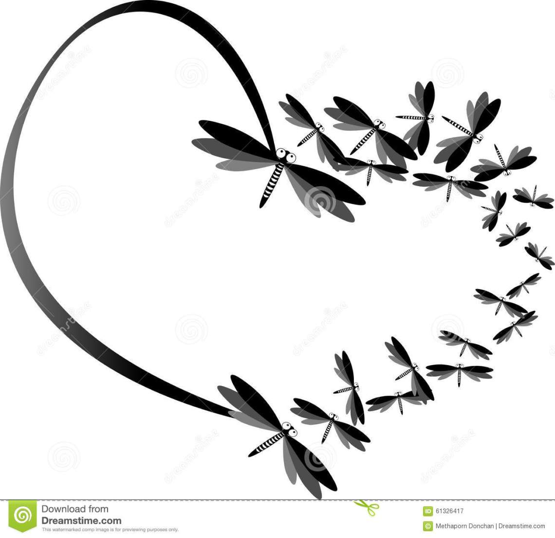Download Black Heart Made By Dragonfly And Illustration Stock ...