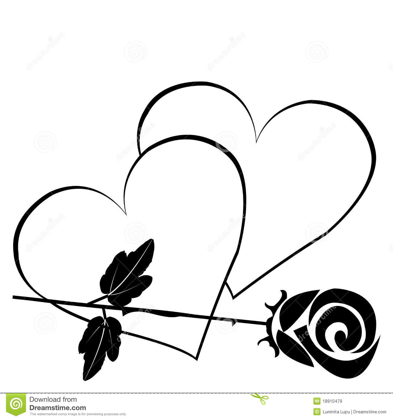 Black Hearts With Rose Stock Illustration Illustration Of