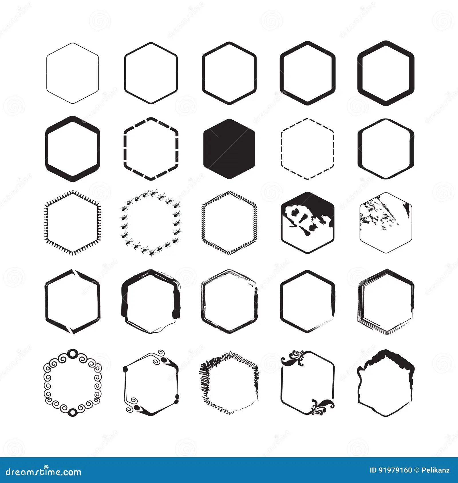 Hexagon Background Black And White Cartoon Vector