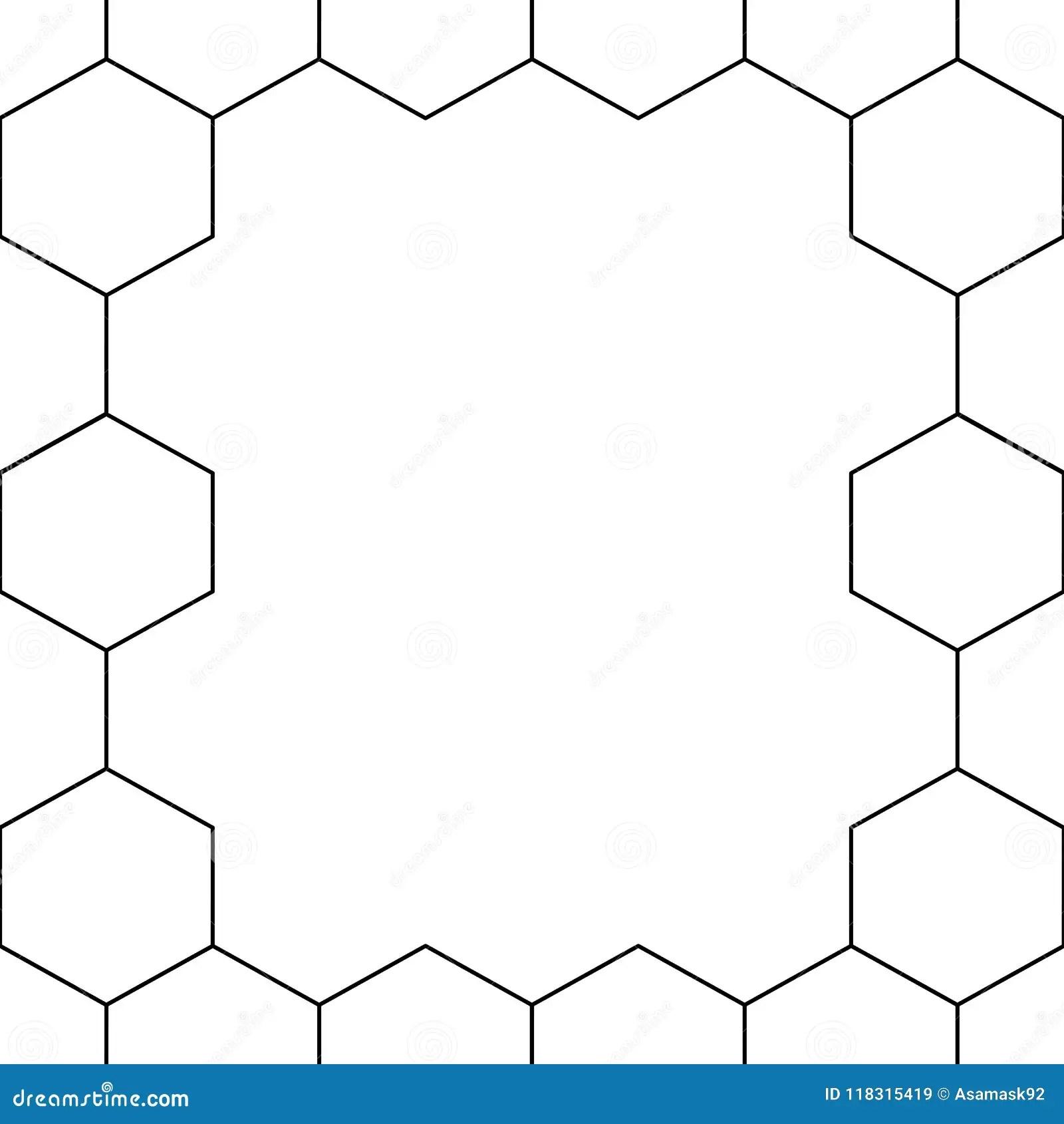 Black Honeycomb Hexagon Border On White Background Vector