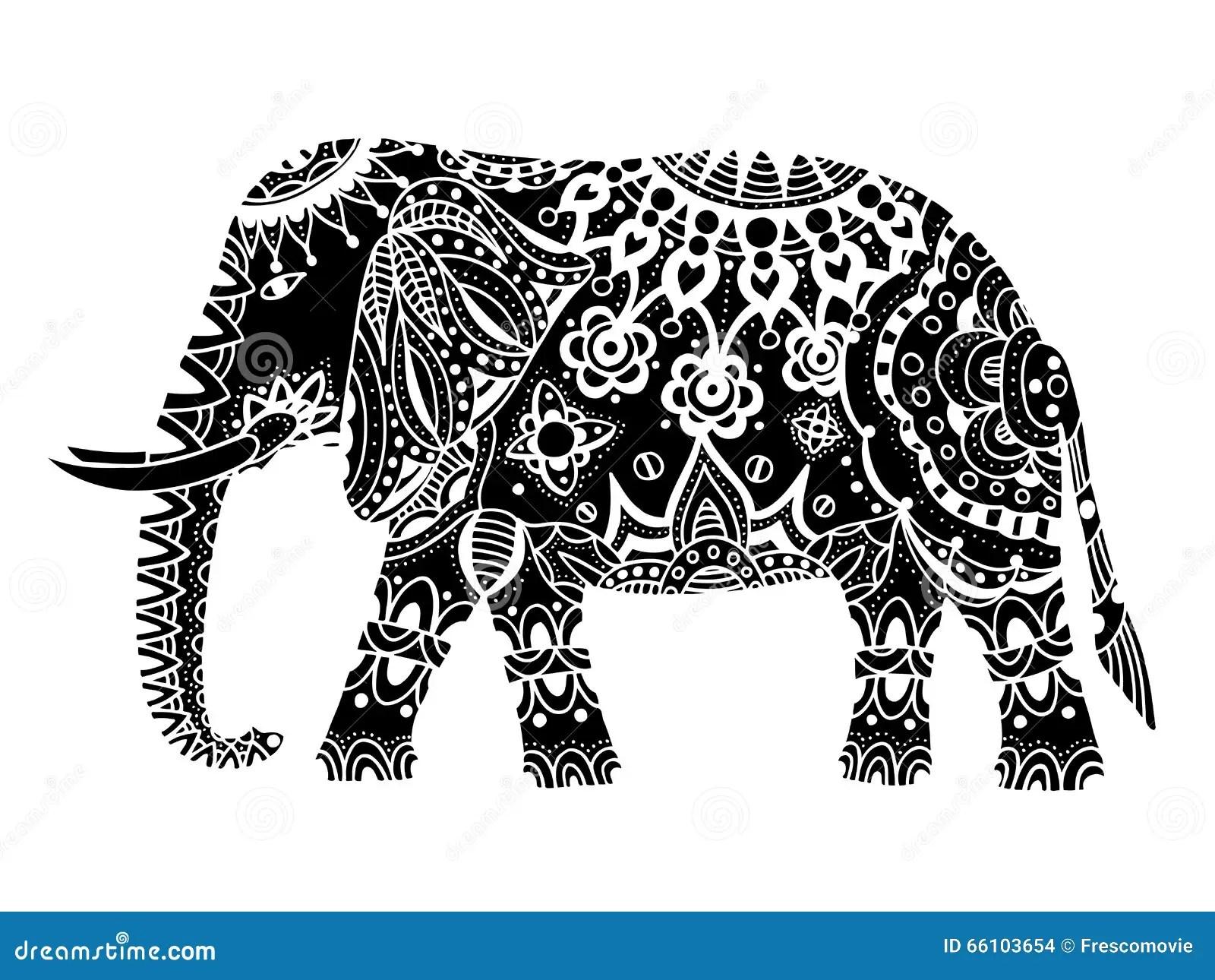 Black Indian Elephant Stock Vector Illustration Of
