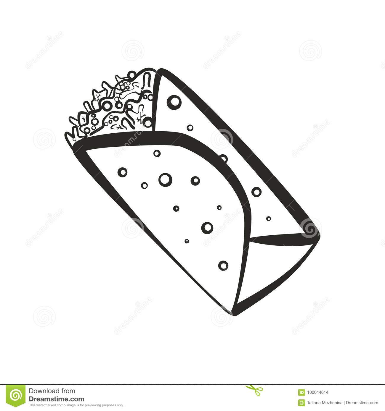 Black Isolated Outline Burrito Icon Stock Illustration