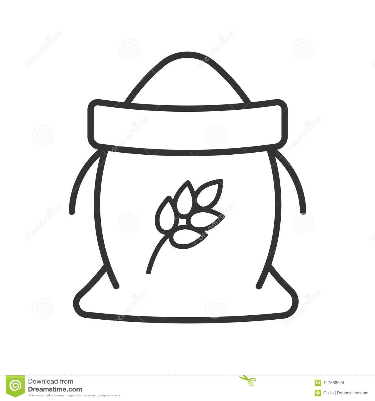 Black Isolated Outline Icon Of Sack Of Flour On White