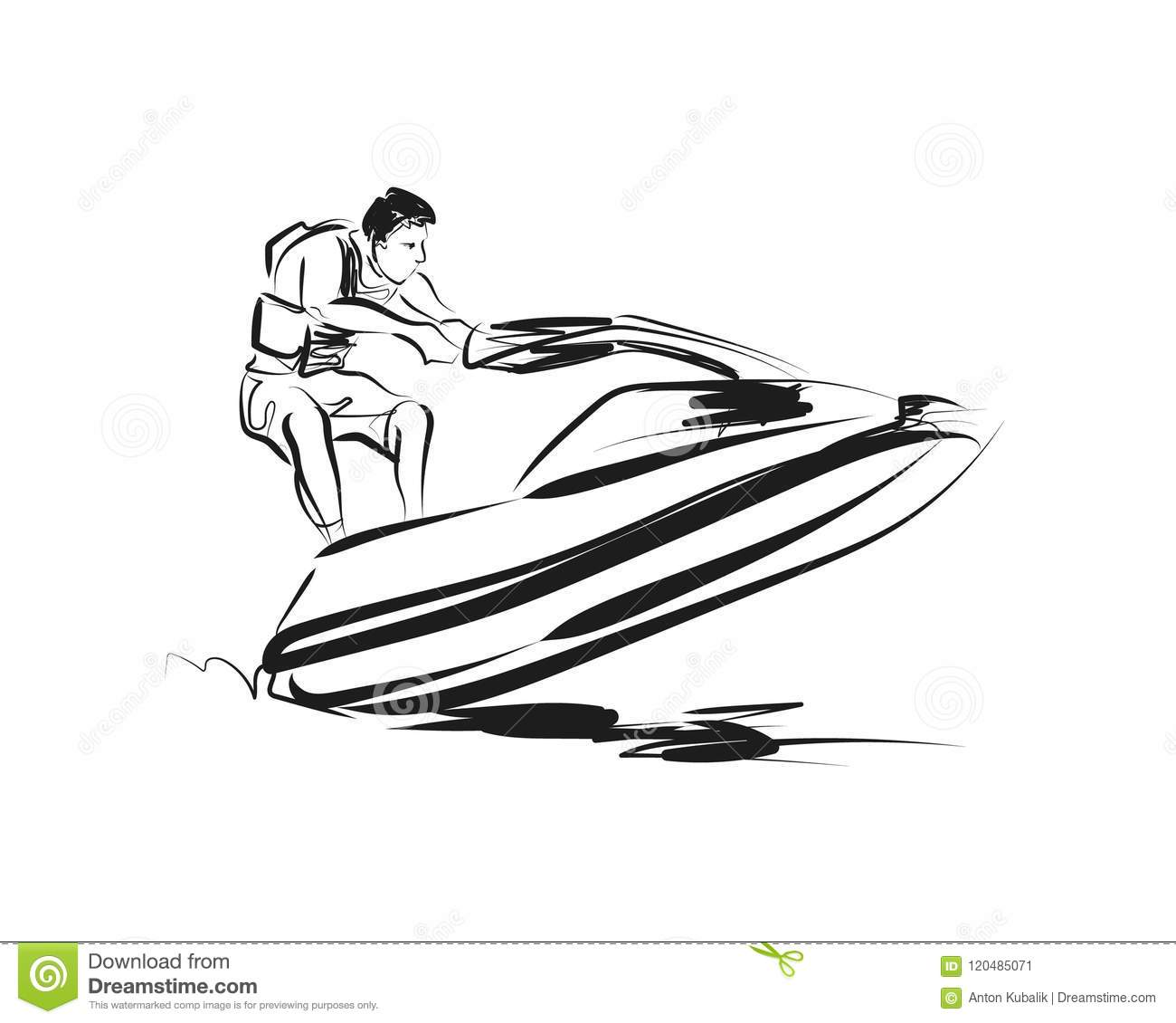 Vector Sketch Rider On A Jet Ski Stock Vector
