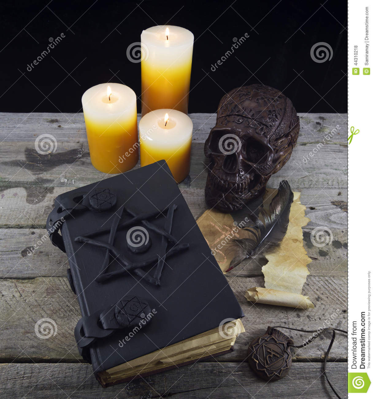 Black Magic Book With Mystic Objects Stock Photo Image