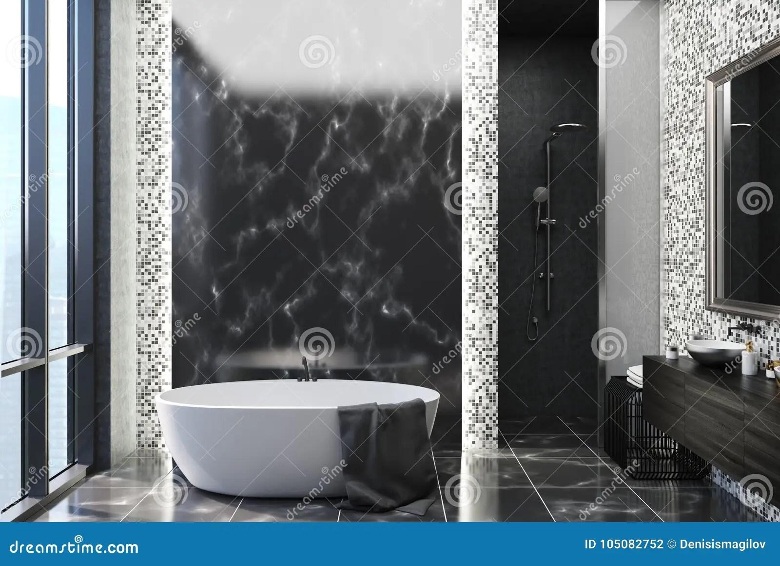 https www dreamstime com black marble tiles bathroom black marble gray tile bathroom interior black marble floor large window white image105082752