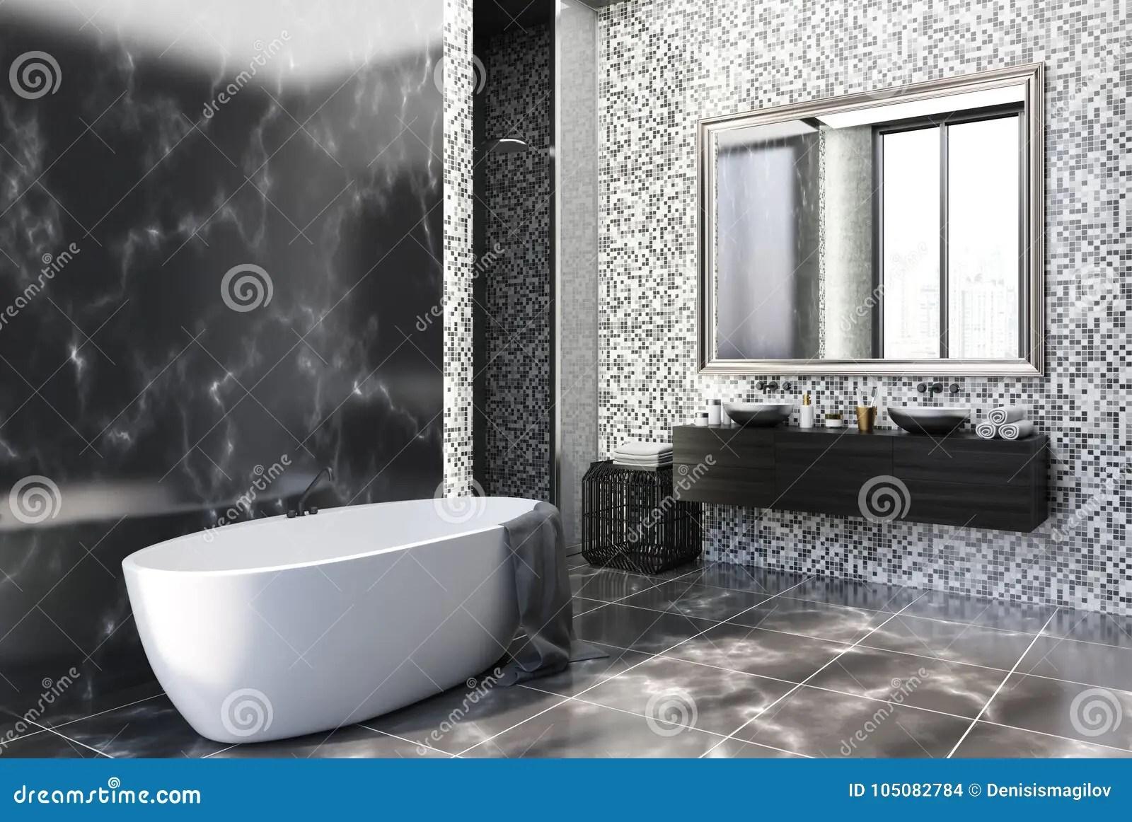 https www dreamstime com black marble tiles bathroom corner black marble gray tile bathroom corner black marble floor large window white image105082784