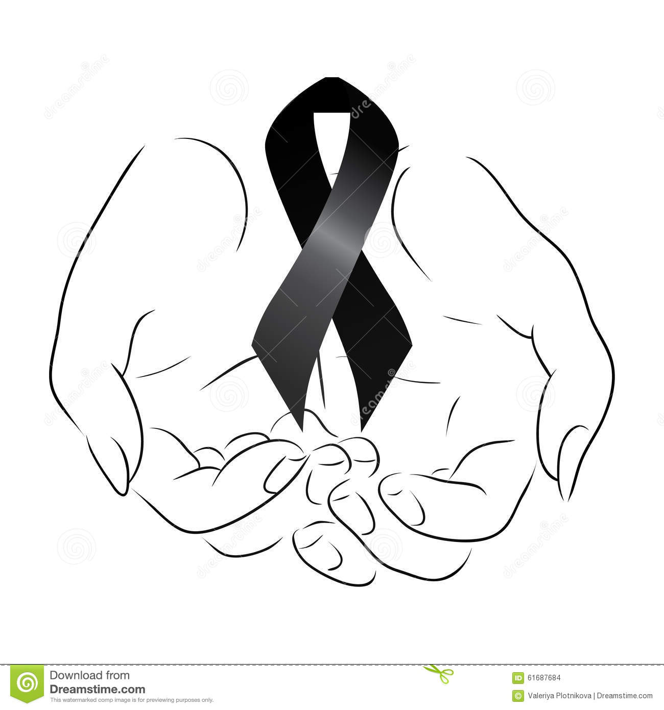 Black Mourning Ribbon Royalty Free Stock Photography