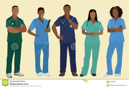 small resolution of black nurses or surgeons in scrubs