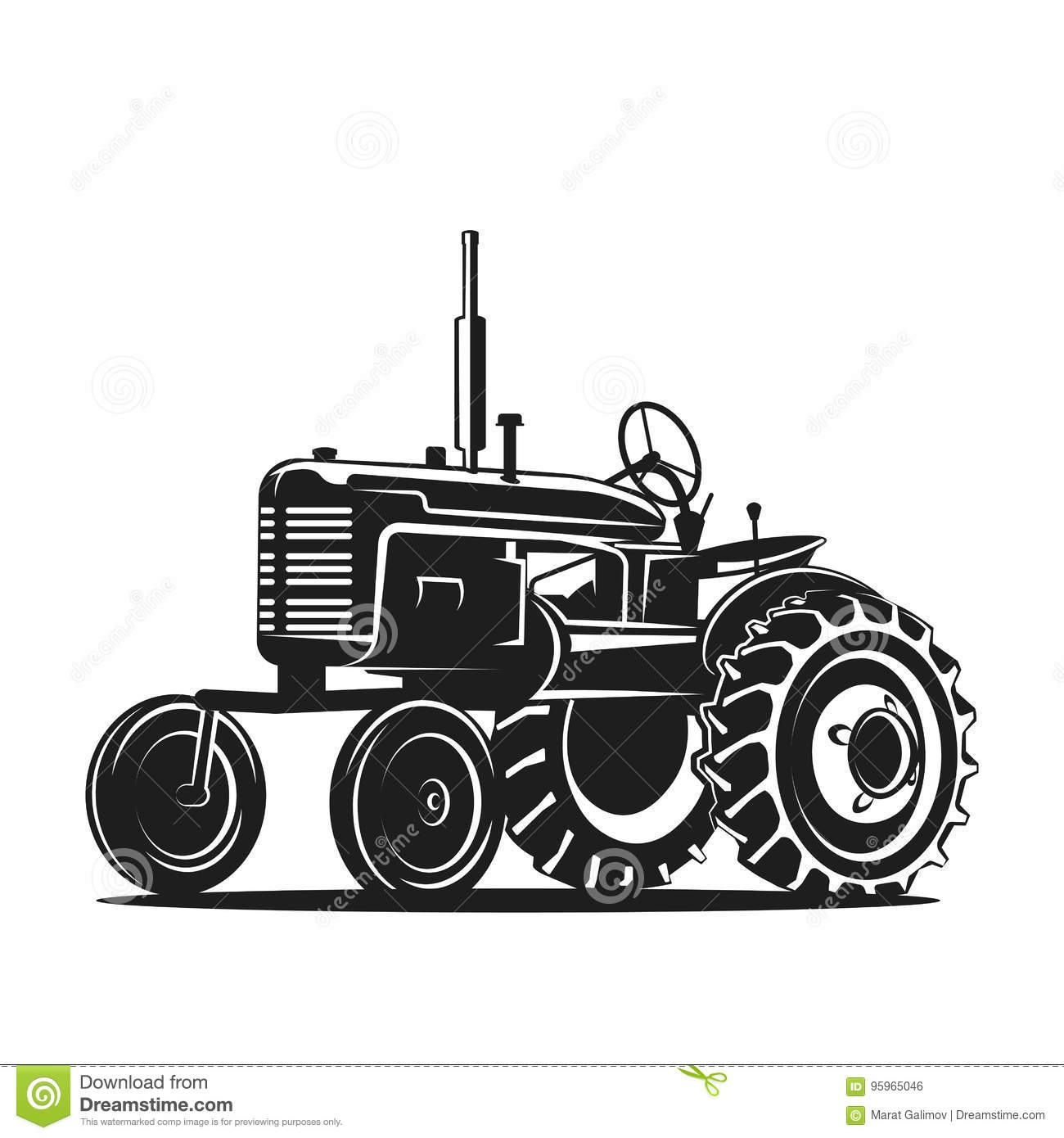 Black Old Tractor Silhouette On White Background Stock