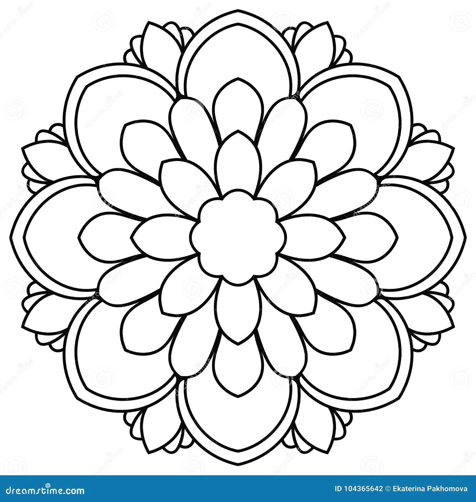 Black Outline Flower Mandala. Doodle Round Decorative