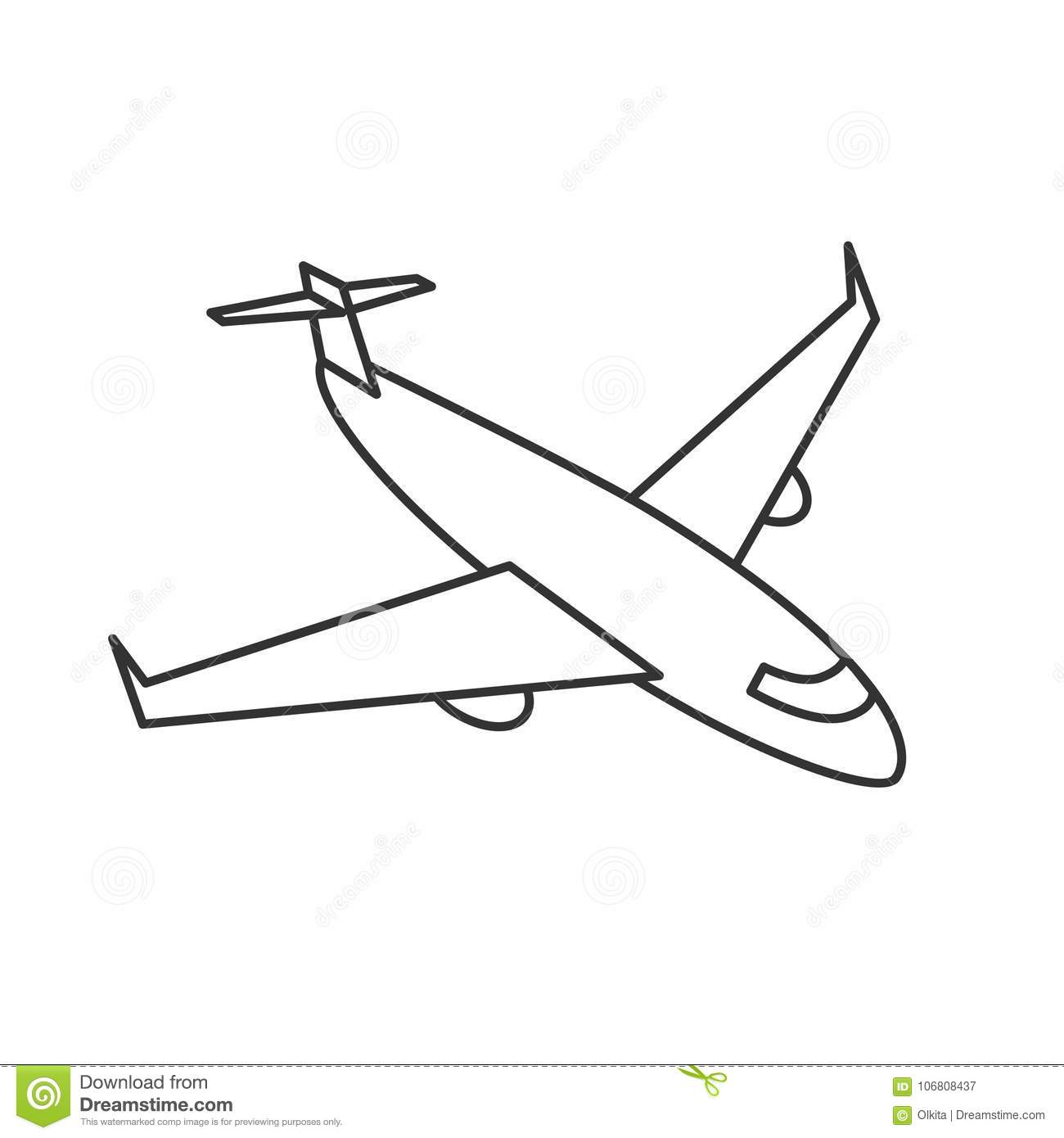 Black Outline Isolated Airplane On White Background Line