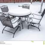 Snow Covered Patio Furniture Stock Image Image Of White Winter 111070279