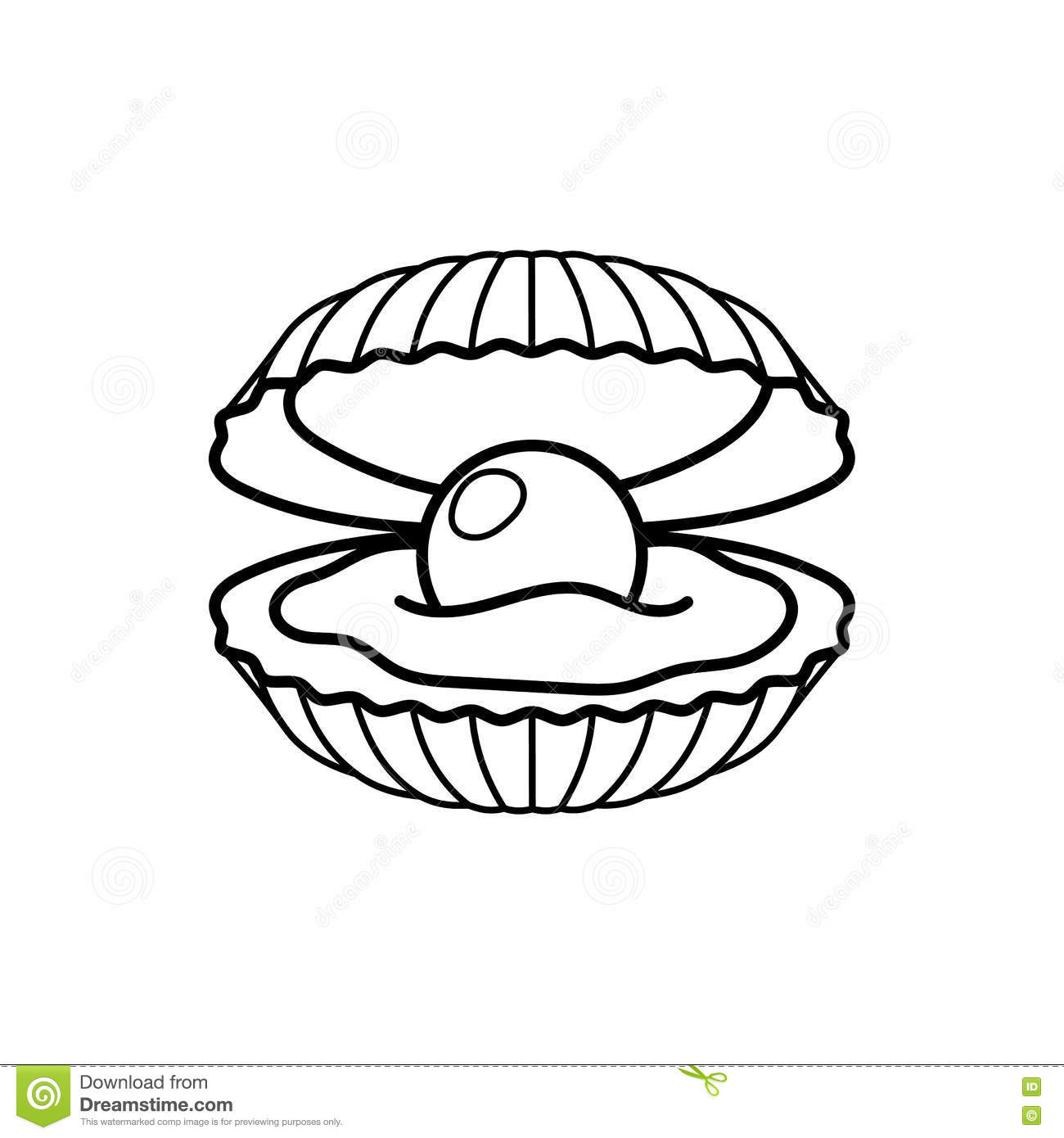 Image Of A Black Pearl In The Shell Royalty Free Stock