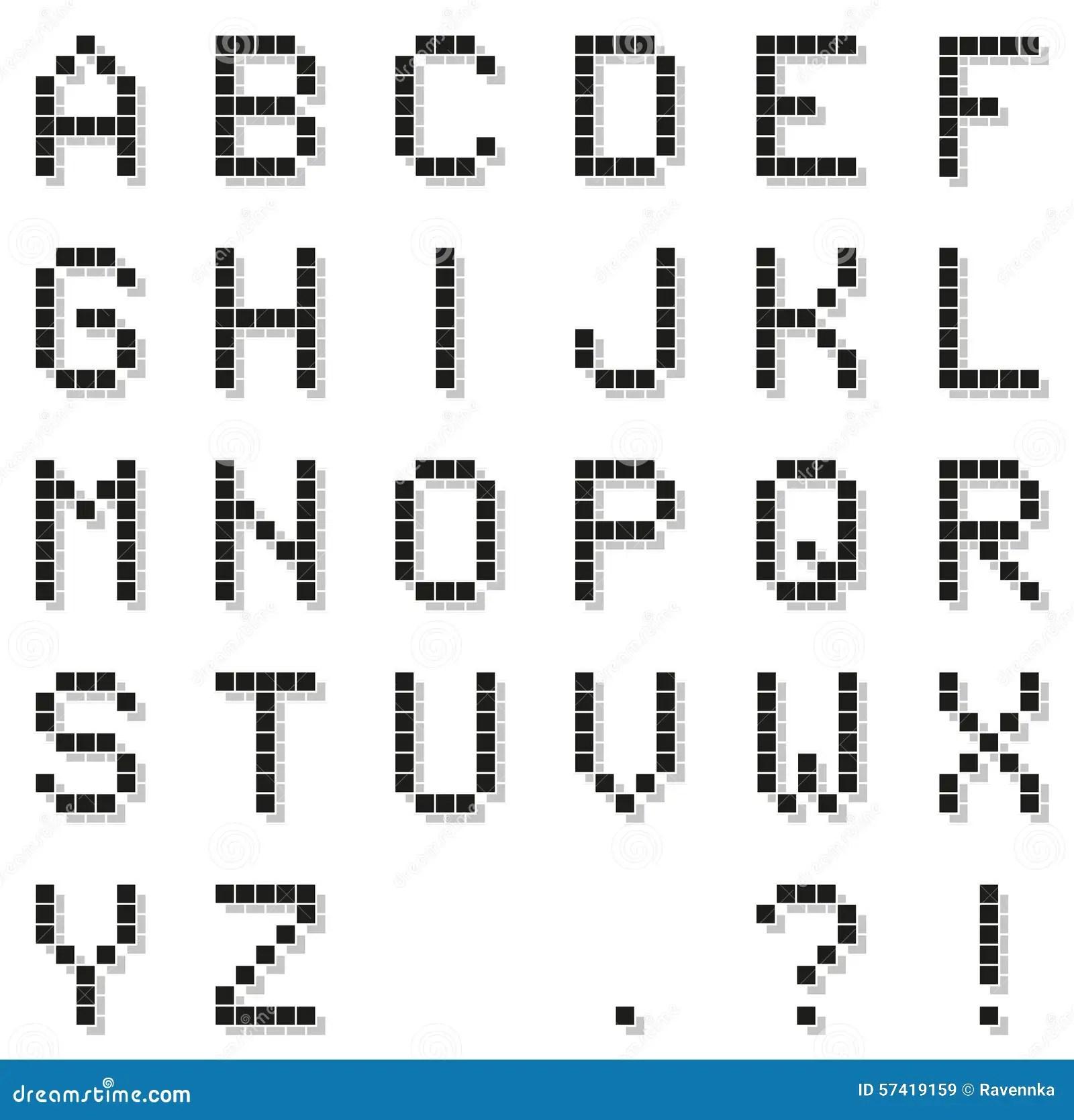 Black Pixel Alphabet With Punctuation With Pixel Shado