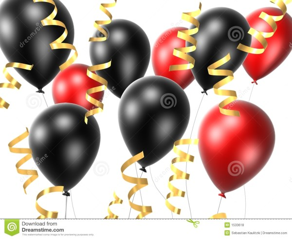 black and red balloon stock illustration