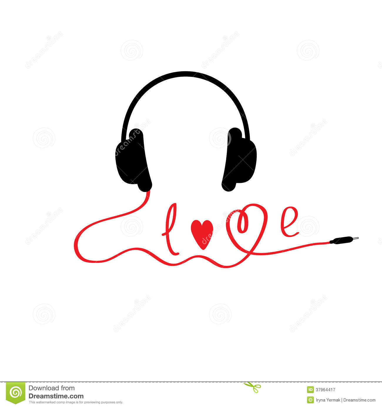 Black And Red Headphones White Background Love Stock