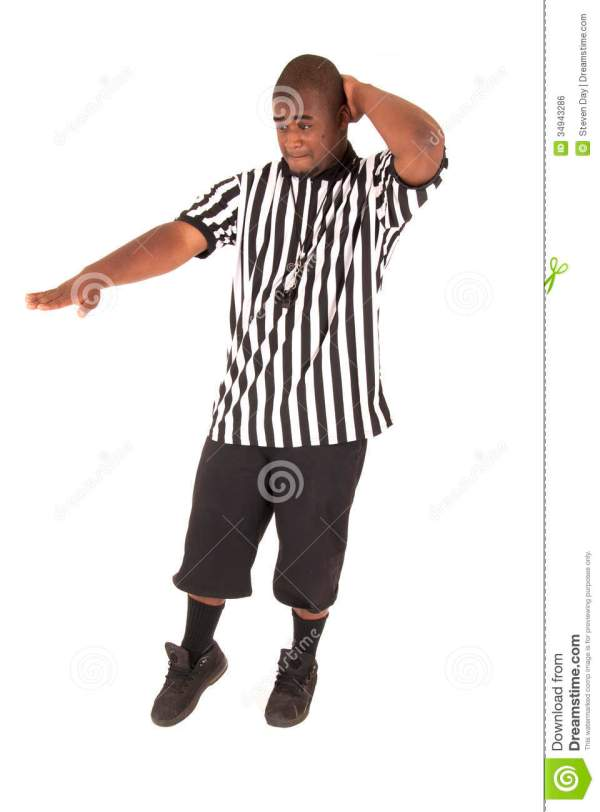 Black Referee Calling A Charging Foul Stock Photo Image