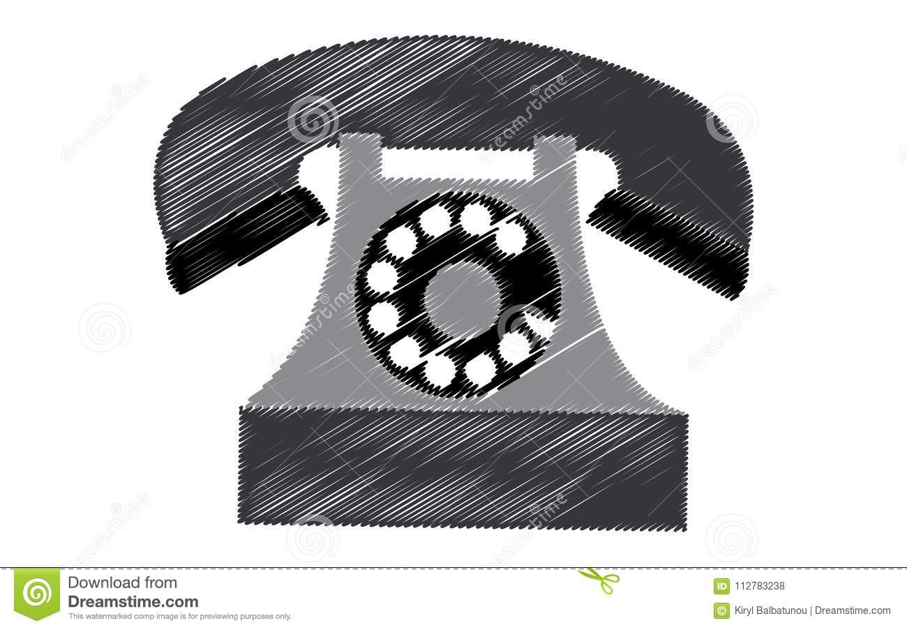 hight resolution of black retro hipster antique old antique phone painted in stroked style on