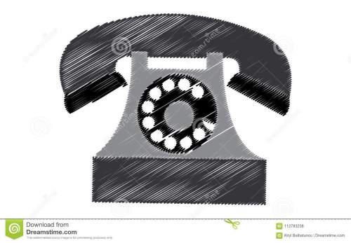 small resolution of black retro hipster antique old antique phone painted in stroked style on