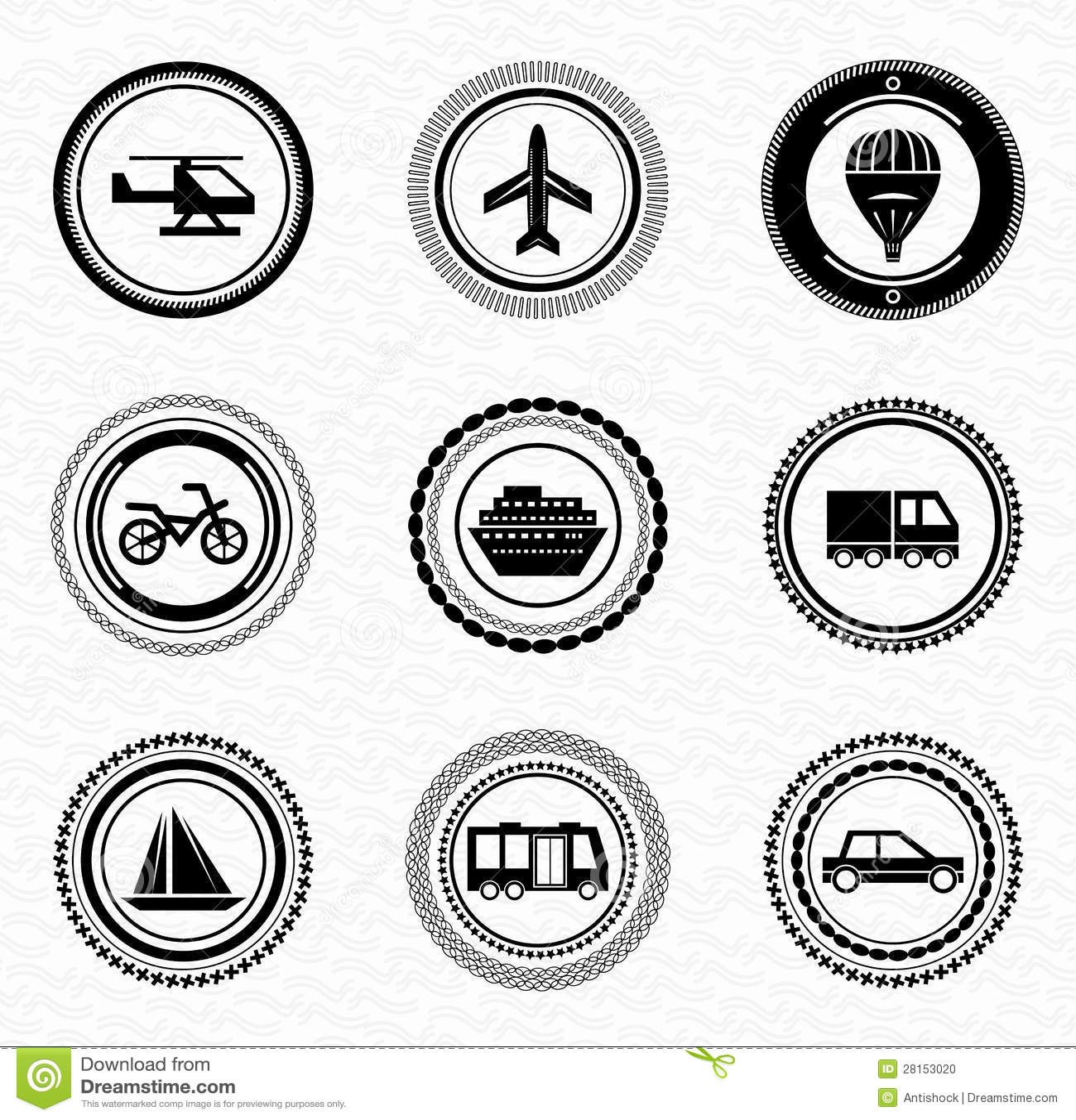 Black Retro Labels And Badges: Transportation Stock Vector