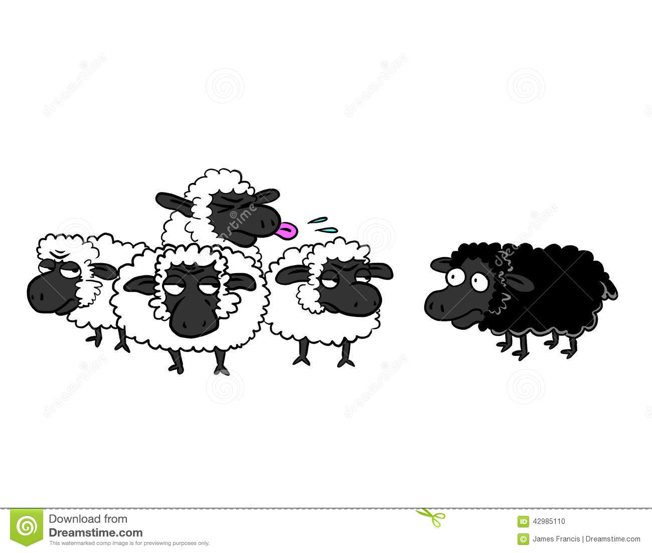 Black Sheep And Group Of White Sheep Stock Illustration