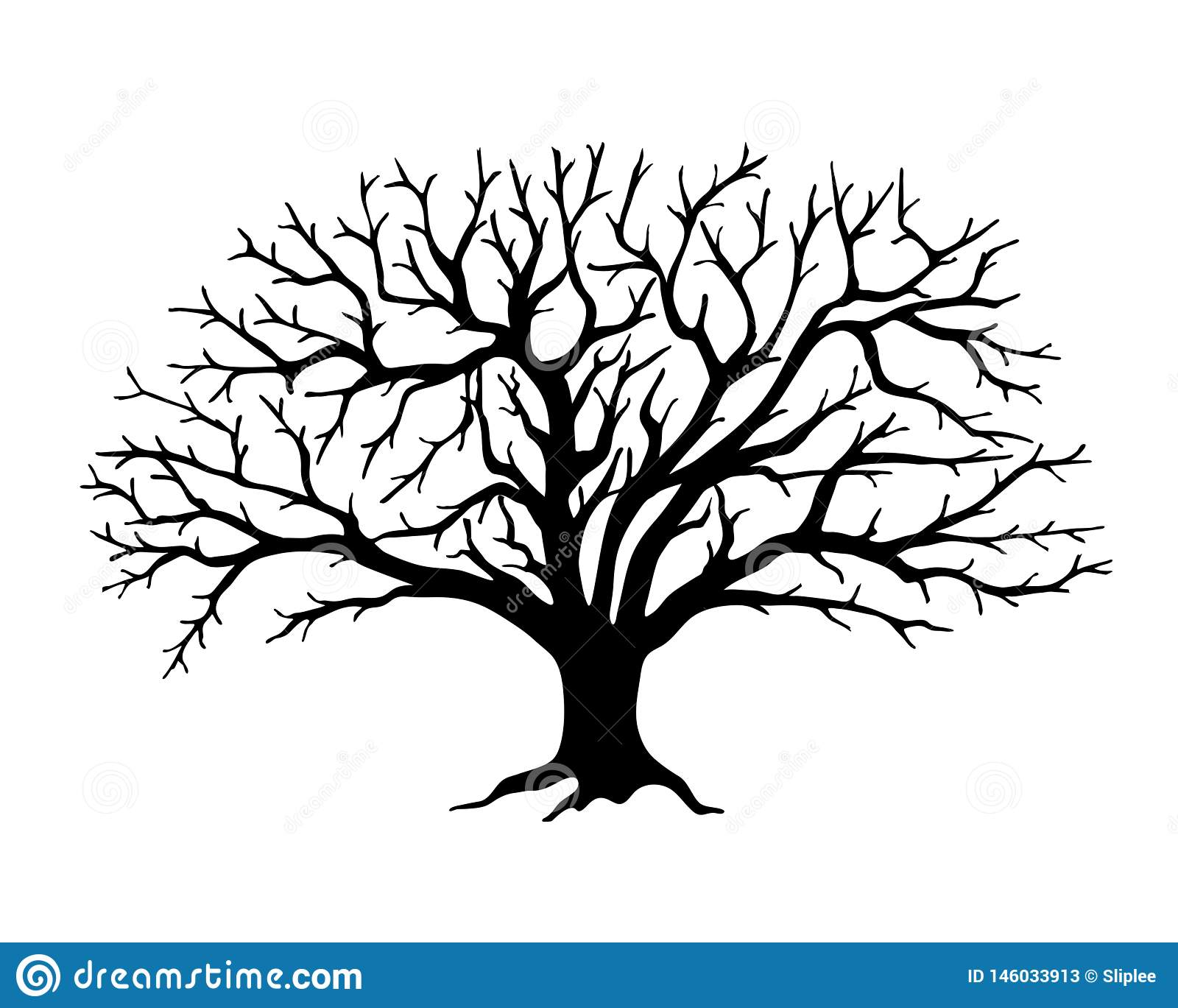 Black Silhouette Apple Tree Without Leaves Stock Vector