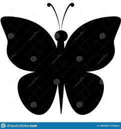 black silhouette clipart of butterfly with outstretched wings [ 1600 x 1689 Pixel ]
