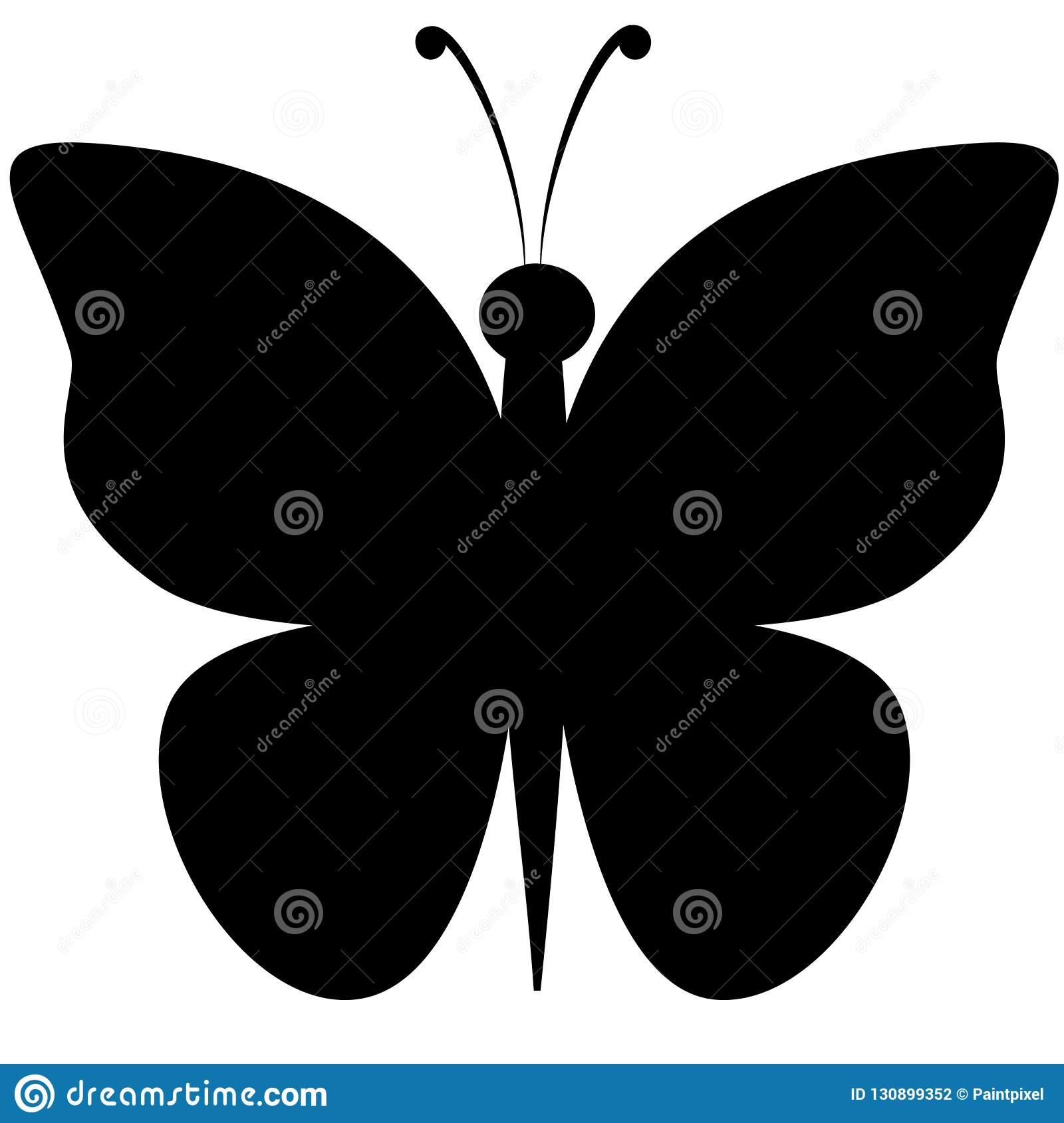 hight resolution of black silhouette clipart of butterfly with outstretched wings