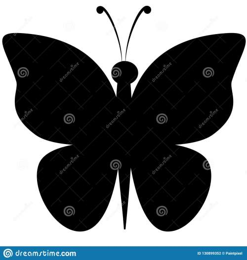 small resolution of black silhouette clipart of butterfly with outstretched wings