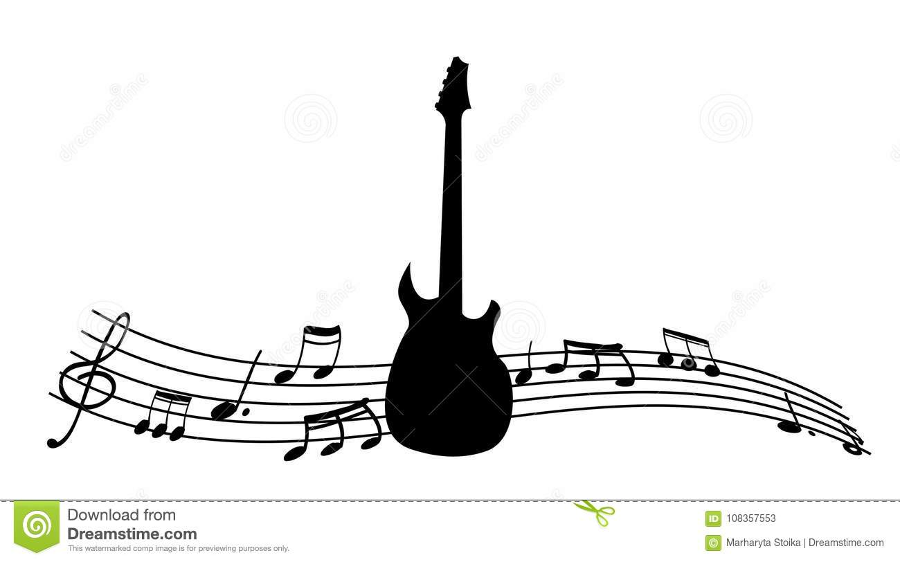 Black Silhouette Of The Guitar And Music Notes. Stock