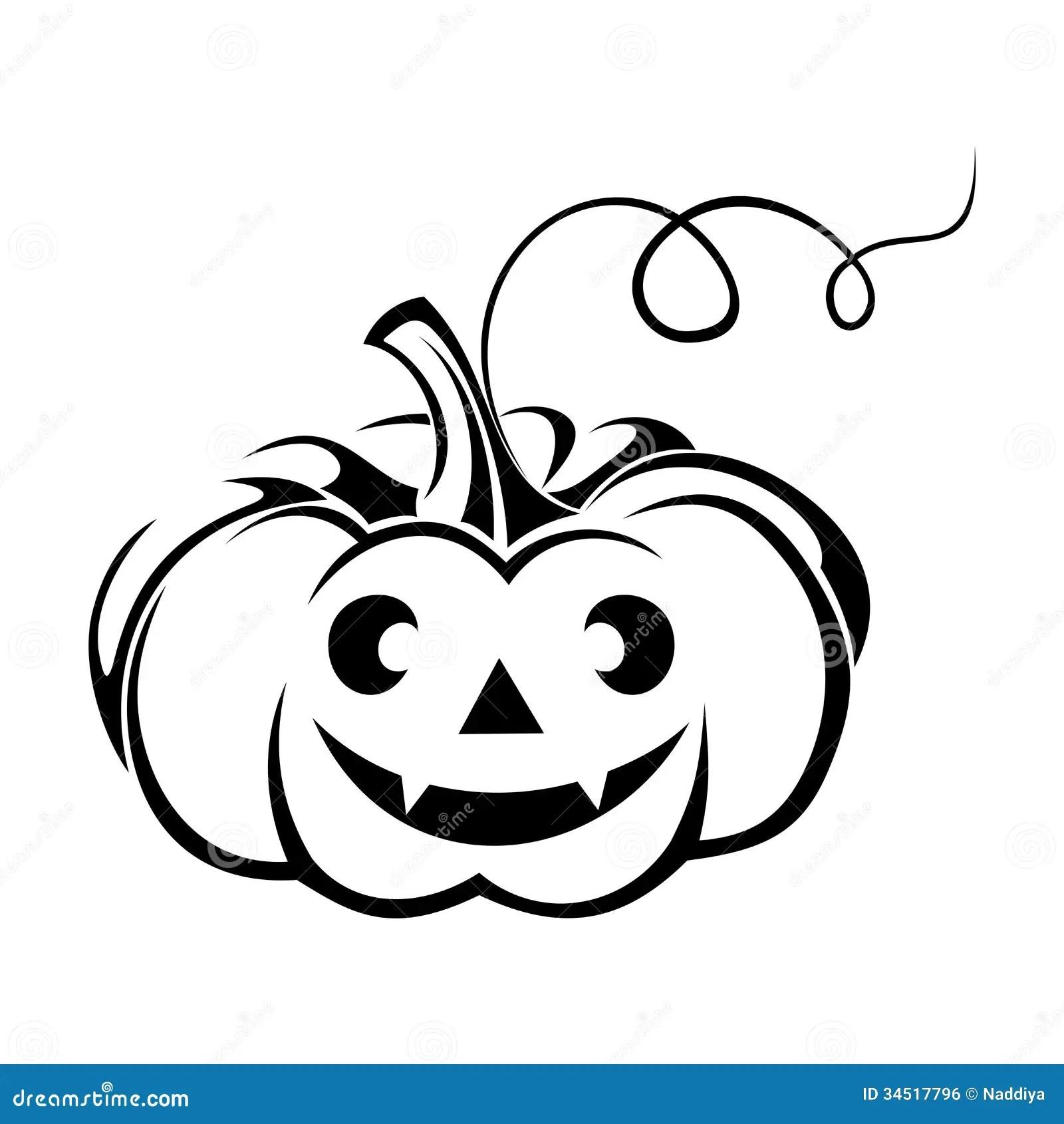 Black Silhouette Of Jack O Lantern Halloween Pump Royalty Free Stock Image